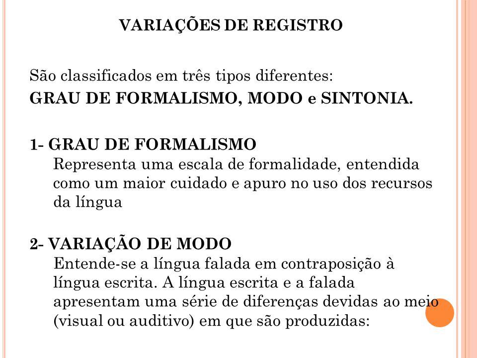 VARIAÇÕES DE REGISTRO São classificados em três tipos diferentes: GRAU DE FORMALISMO, MODO e SINTONIA. 1- GRAU DE FORMALISMO Representa uma escala de