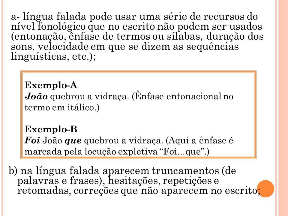 b) na língua falada aparecem truncamentos (de palavras e frases), hesitações, repetições e retomadas, correções que não aparecem no escrito; Exemplo-A