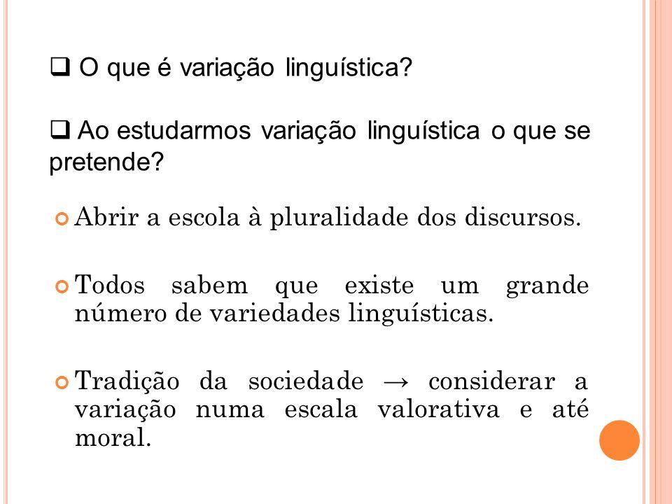 Abrir a escola à pluralidade dos discursos. Todos sabem que existe um grande número de variedades linguísticas. Tradição da sociedade considerar a var