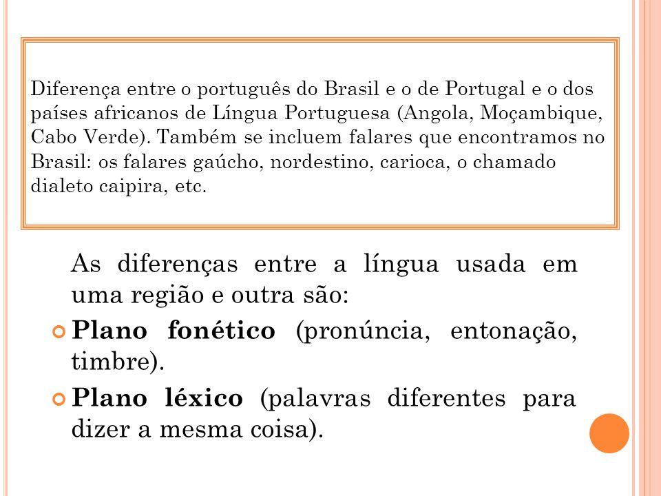 Diferença entre o português do Brasil e o de Portugal e o dos países africanos de Língua Portuguesa (Angola, Moçambique, Cabo Verde). Também se inclue