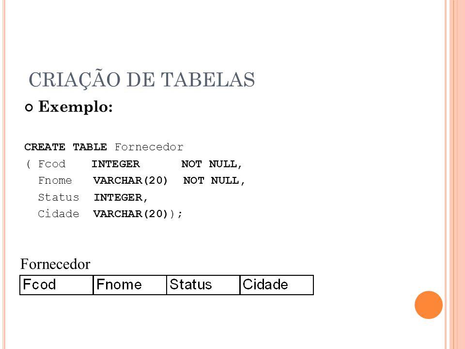 CRIAÇÃO DE TABELAS Exemplo: CREATE TABLE Fornecedor ( Fcod INTEGER NOT NULL, Fnome VARCHAR(20) NOT NULL, Status INTEGER, Cidade VARCHAR(20)); Forneced