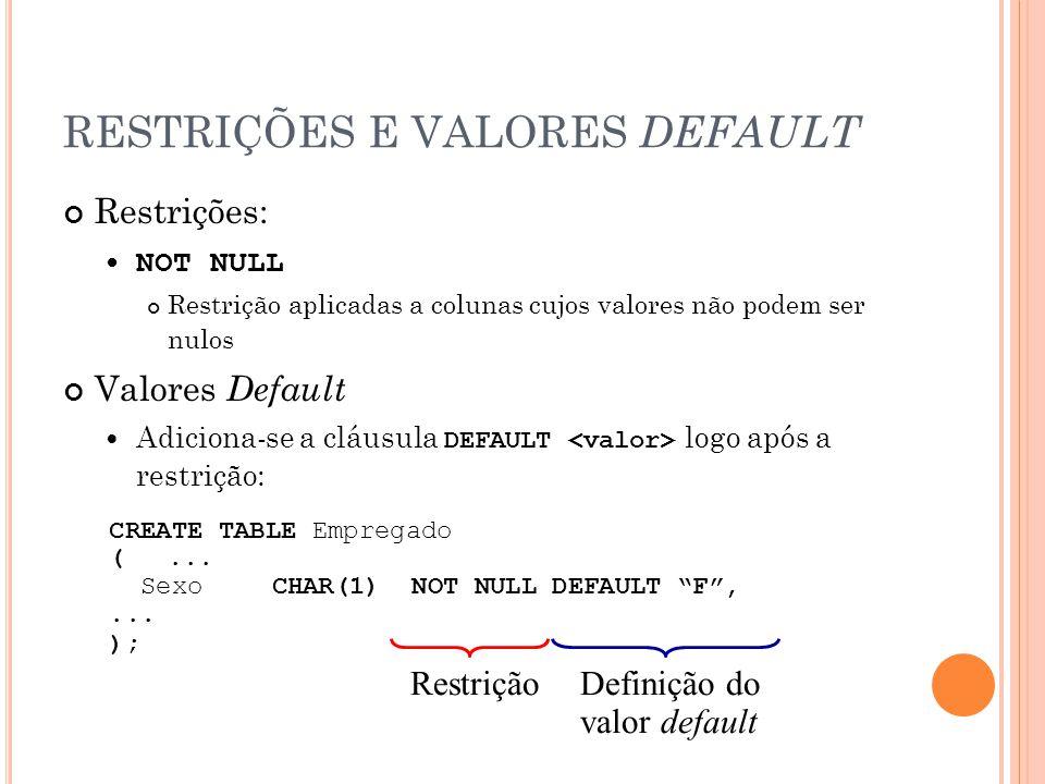 RESTRIÇÕES E VALORES DEFAULT Restrições: NOT NULL Restrição aplicadas a colunas cujos valores não podem ser nulos Valores Default Adiciona-se a cláusu