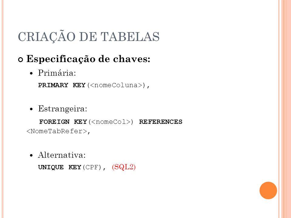 CRIAÇÃO DE TABELAS Especificação de chaves: Primária: PRIMARY KEY( ), Estrangeira: FOREIGN KEY( ) REFERENCES, Alternativa: UNIQUE KEY(CPF), (SQL2)