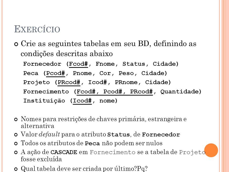 E XERCÍCIO Crie as seguintes tabelas em seu BD, definindo as condições descritas abaixo Fornecedor (Fcod#, Fnome, Status, Cidade) Peca (Pcod#, Pnome,