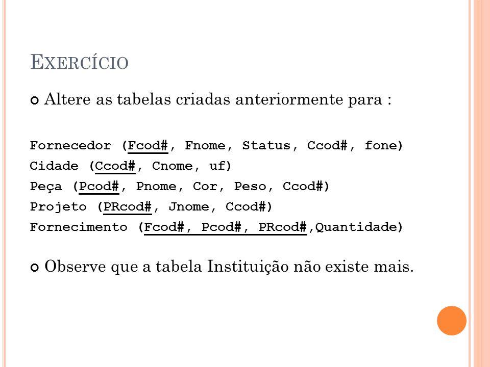 E XERCÍCIO Altere as tabelas criadas anteriormente para : Fornecedor (Fcod#, Fnome, Status, Ccod#, fone) Cidade (Ccod#, Cnome, uf) Peça (Pcod#, Pnome,