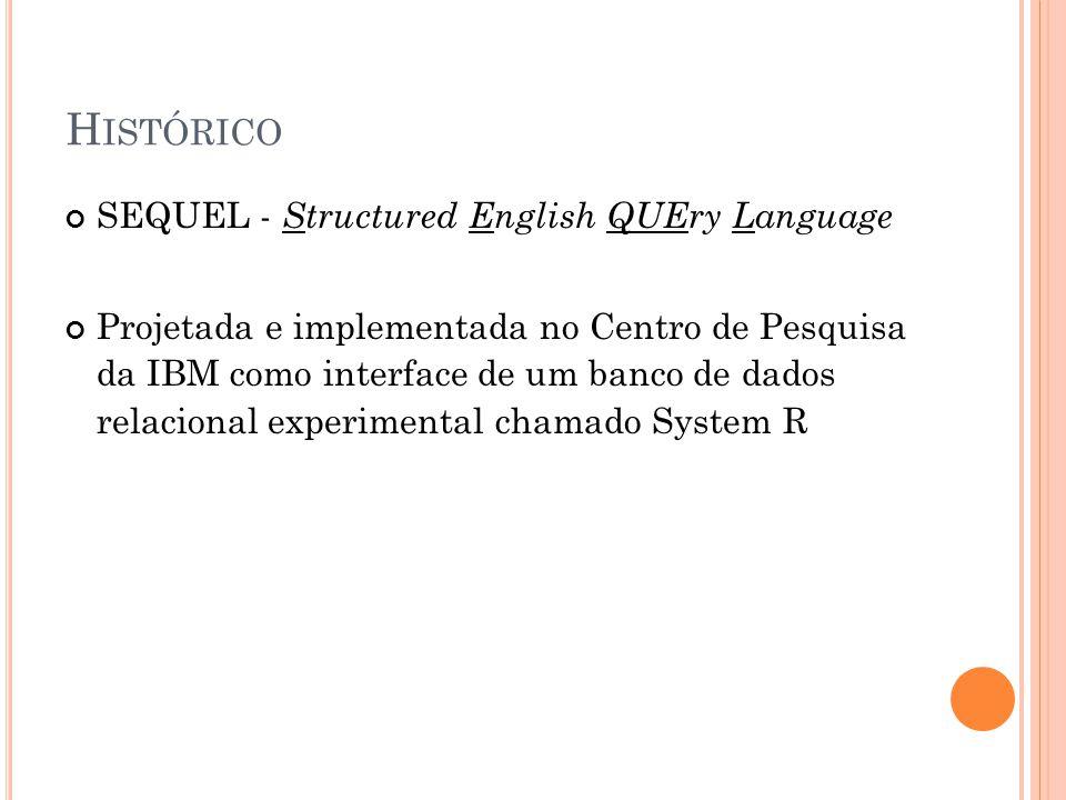 H ISTÓRICO SEQUEL - Structured English QUEry Language Projetada e implementada no Centro de Pesquisa da IBM como interface de um banco de dados relaci