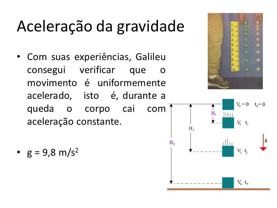 Aceleração da gravidade Com suas experiências, Galileu consegui verificar que o movimento é uniformemente acelerado, isto é, durante a queda o corpo c