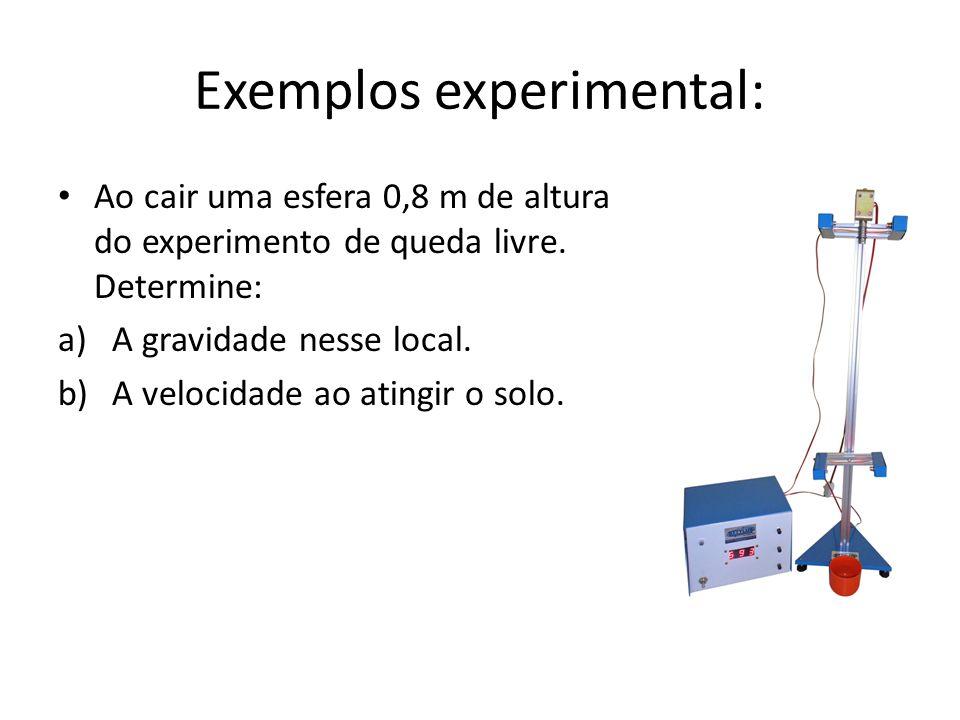 Exemplos experimental: Ao cair uma esfera 0,8 m de altura do experimento de queda livre. Determine: a)A gravidade nesse local. b)A velocidade ao ating