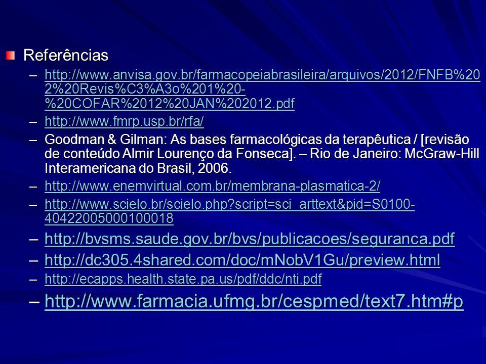 Referências –http://www.anvisa.gov.br/farmacopeiabrasileira/arquivos/2012/FNFB%20 2%20Revis%C3%A3o%201%20- %20COFAR%2012%20JAN%202012.pdf http://www.a