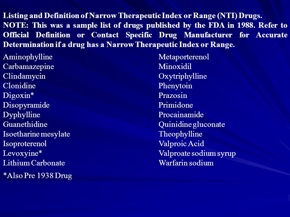 Listing and Definition of Narrow Therapeutic Index or Range (NTI) Drugs. NOTE: This was a sample list of drugs published by the FDA in 1988. Refer to