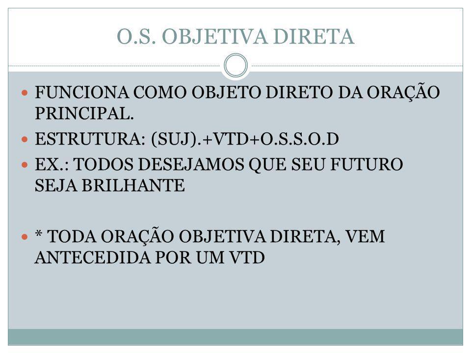 O.S. OBJETIVA DIRETA FUNCIONA COMO OBJETO DIRETO DA ORAÇÃO PRINCIPAL. ESTRUTURA: (SUJ).+VTD+O.S.S.O.D EX.: TODOS DESEJAMOS QUE SEU FUTURO SEJA BRILHAN