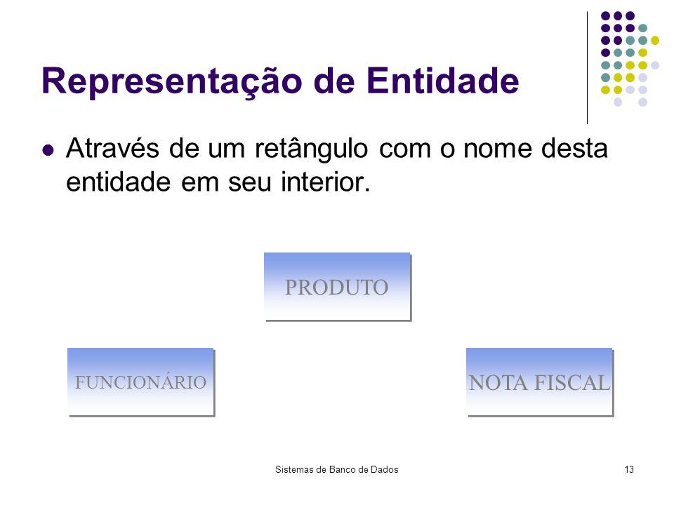 Sistemas de Banco de Dados13 Representação de Entidade Através de um retângulo com o nome desta entidade em seu interior. FUNCIONÁRIO PRODUTO NOTA FIS