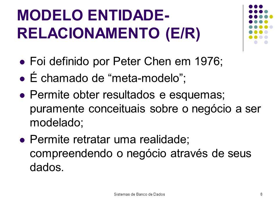 Sistemas de Banco de Dados8 MODELO ENTIDADE- RELACIONAMENTO (E/R) Foi definido por Peter Chen em 1976; É chamado de meta-modelo; Permite obter resulta