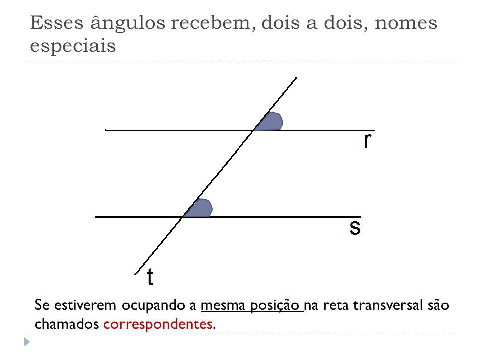 Se estiverem ocupando a mesma posição na reta transversal são chamados correspondentes. Esses ângulos recebem, dois a dois, nomes especiais