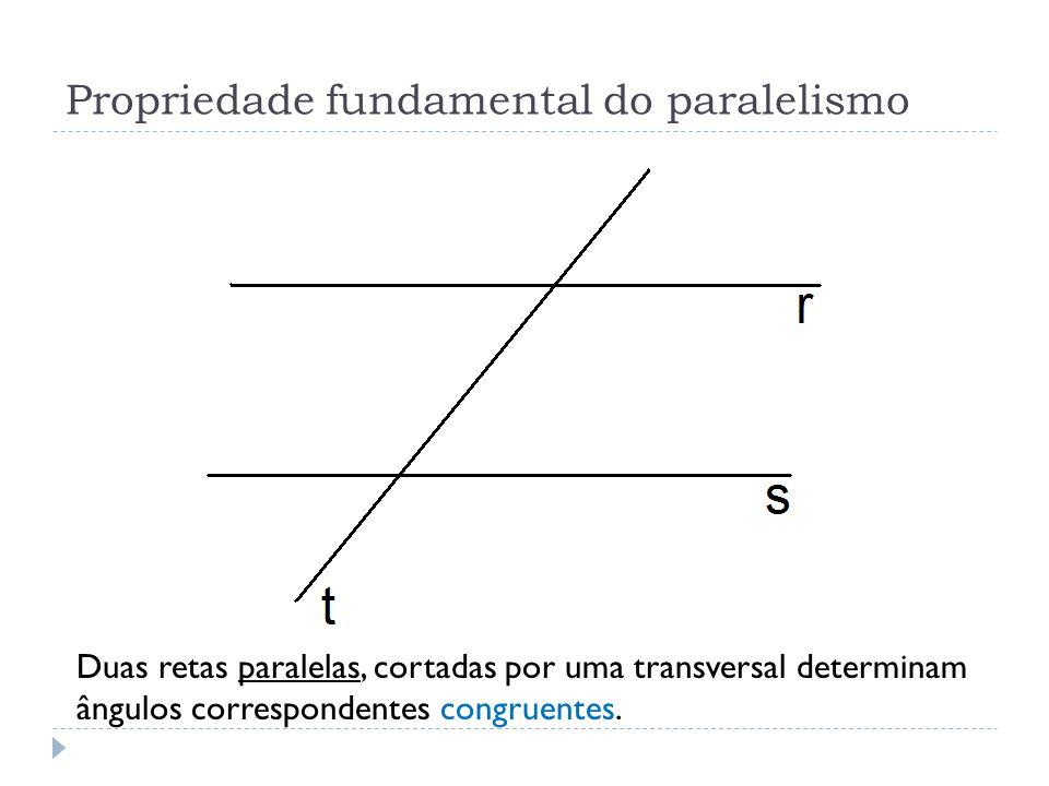 Duas retas paralelas, cortadas por uma transversal determinam ângulos correspondentes congruentes. Propriedade fundamental do paralelismo