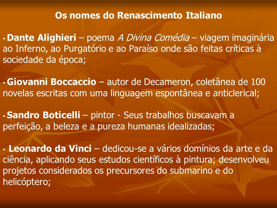 Os nomes do Renascimento Italiano Dante Alighieri – poema A Divina Comédia – viagem imaginária ao Inferno, ao Purgatório e ao Paraíso onde são feitas