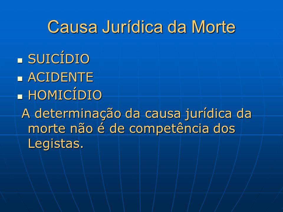 Causa Jurídica da Morte SUICÍDIO SUICÍDIO ACIDENTE ACIDENTE HOMICÍDIO HOMICÍDIO A determinação da causa jurídica da morte não é de competência dos Leg