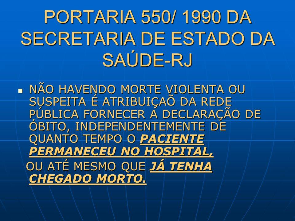 PORTARIA 550/ 1990 DA SECRETARIA DE ESTADO DA SAÚDE-RJ NÃO HAVENDO MORTE VIOLENTA OU SUSPEITA É ATRIBUIÇAÕ DA REDE PÚBLICA FORNECER A DECLARAÇÃO DE ÓB