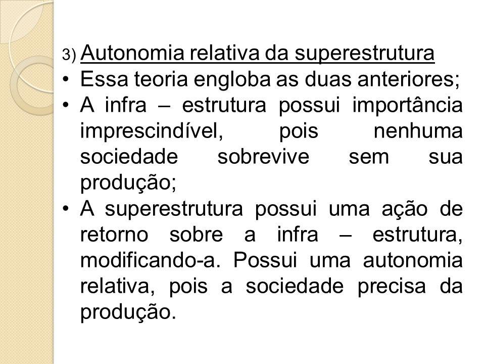 3) Autonomia relativa da superestrutura Essa teoria engloba as duas anteriores; A infra – estrutura possui importância imprescindível, pois nenhuma sociedade sobrevive sem sua produção; A superestrutura possui uma ação de retorno sobre a infra – estrutura, modificando-a.