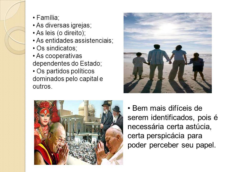 Família; As diversas igrejas; As leis (o direito); As entidades assistenciais; Os sindicatos; As cooperativas dependentes do Estado; Os partidos políticos dominados pelo capital e outros.