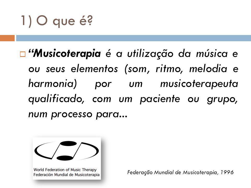 1) O que é? Musicoterapia é a utilização da música e ou seus elementos (som, ritmo, melodia e harmonia) por um musicoterapeuta qualificado, com um pac