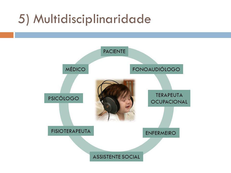 5) Multidisciplinaridade MÉDICO ENFERMEIRO ASSISTENTE SOCIAL FONOAUDIÓLOGO PSICÓLOGO TERAPEUTA OCUPACIONAL FISIOTERAPEUTA PACIENTE