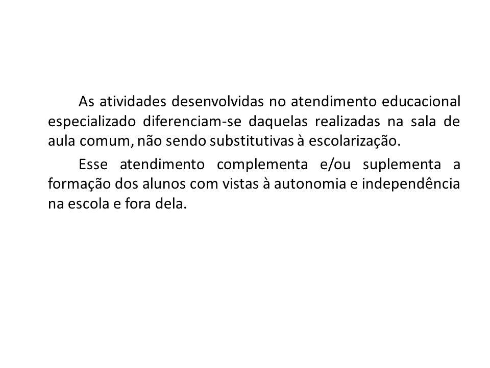 As atividades desenvolvidas no atendimento educacional especializado diferenciam-se daquelas realizadas na sala de aula comum, não sendo substitutivas
