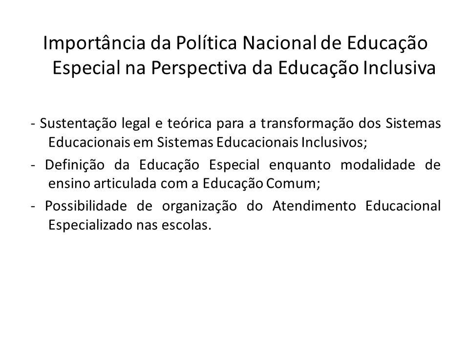 Importância da Política Nacional de Educação Especial na Perspectiva da Educação Inclusiva - Sustentação legal e teórica para a transformação dos Sist