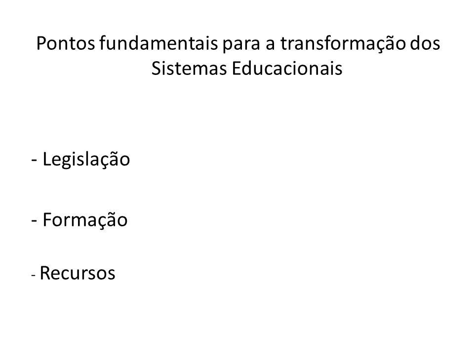 Pontos fundamentais para a transformação dos Sistemas Educacionais - Legislação - Formação - Recursos