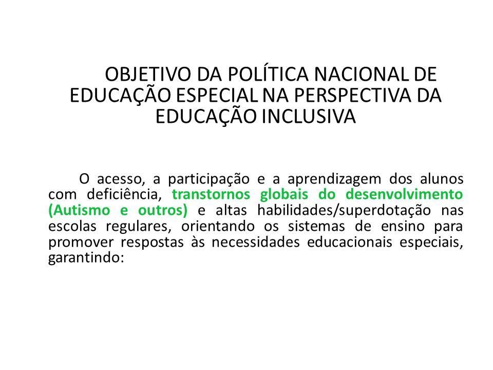 OBJETIVO DA POLÍTICA NACIONAL DE EDUCAÇÃO ESPECIAL NA PERSPECTIVA DA EDUCAÇÃO INCLUSIVA O acesso, a participação e a aprendizagem dos alunos com defic