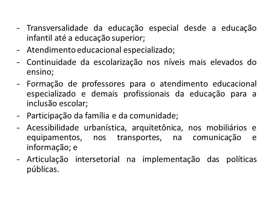 - Transversalidade da educação especial desde a educação infantil até a educação superior; - Atendimento educacional especializado; - Continuidade da