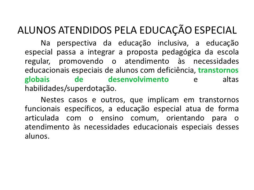 ALUNOS ATENDIDOS PELA EDUCAÇÃO ESPECIAL Na perspectiva da educação inclusiva, a educação especial passa a integrar a proposta pedagógica da escola reg