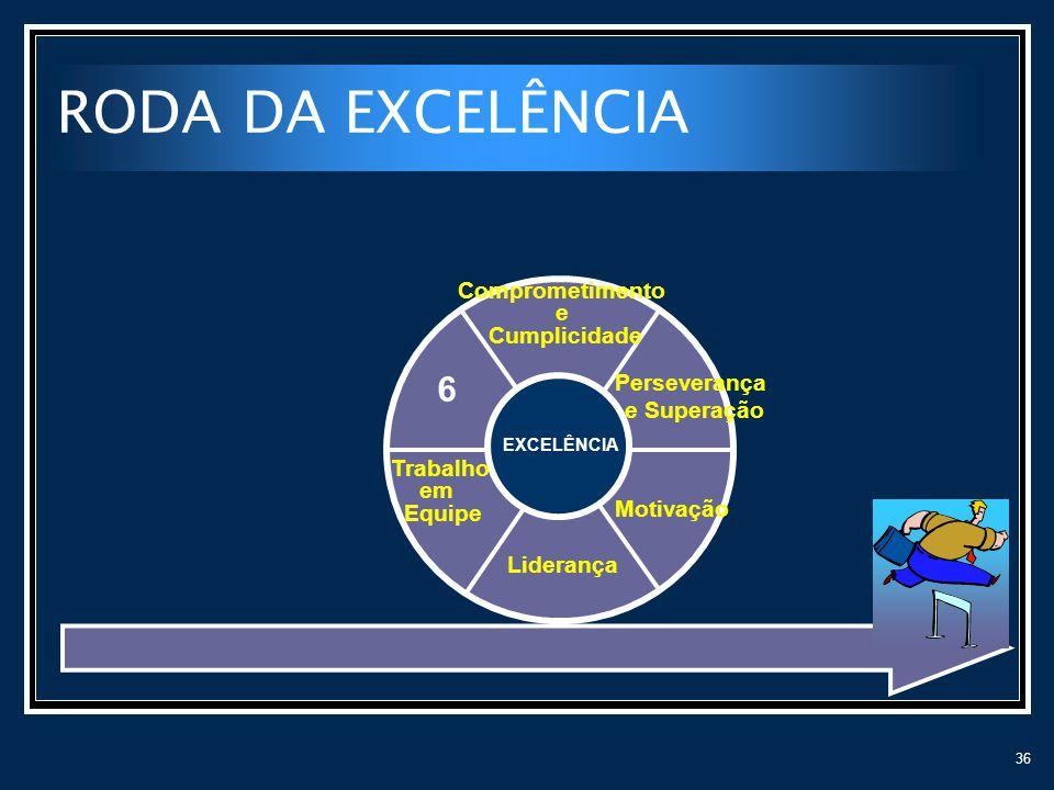 36 RODA DA EXCELÊNCIA Liderança Motivação Perseverança e Superação Comprometimento e Cumplicidade 6 EXCELÊNCIA Trabalho em Equipe