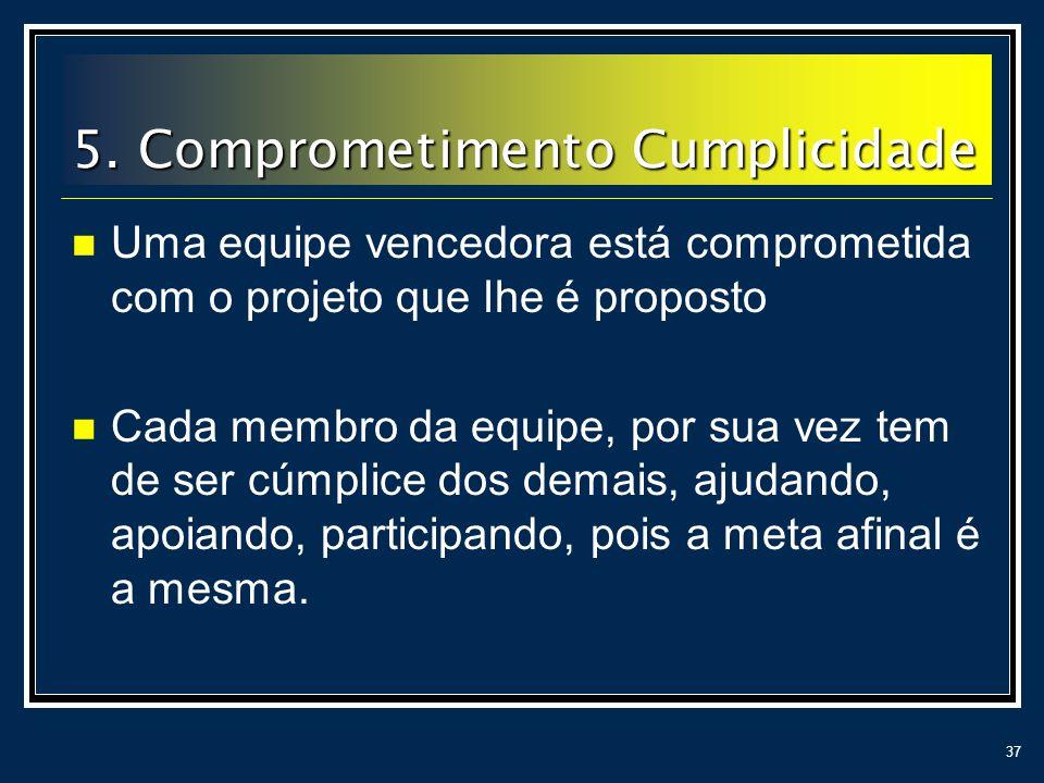 37 5. Comprometimento Cumplicidade Uma equipe vencedora está comprometida com o projeto que lhe é proposto Cada membro da equipe, por sua vez tem de s