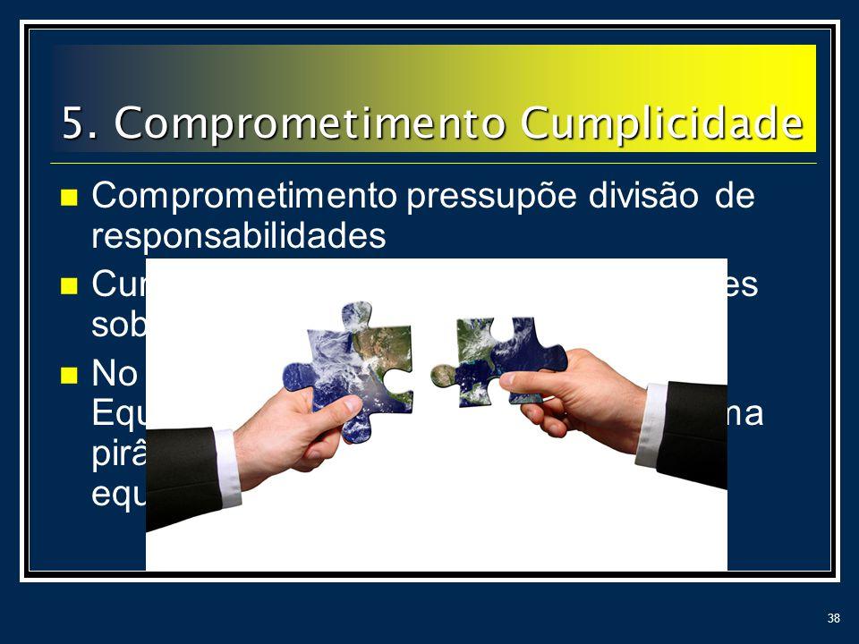 38 Comprometimento pressupõe divisão de responsabilidades Cumplicidade é fruto de egos e vaidades sob controle. No livro Os Cinco Desafios de uma Equi