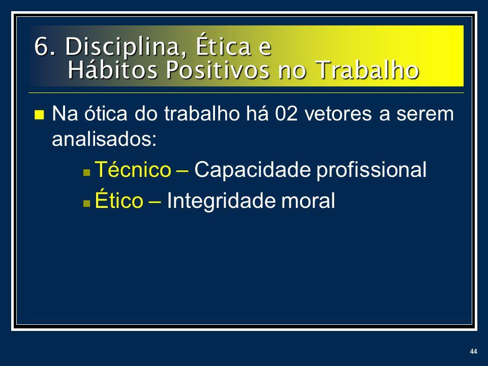 44 Na ótica do trabalho há 02 vetores a serem analisados: Técnico – Capacidade profissional Ético – Integridade moral 6. Disciplina, Ética e Hábitos P