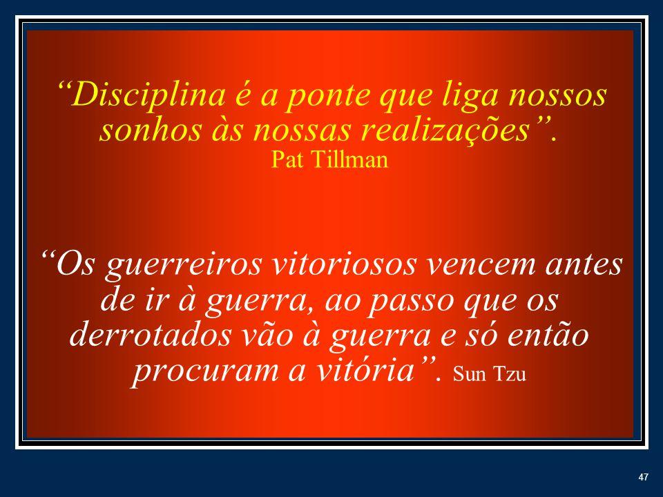 47 Disciplina é a ponte que liga nossos sonhos às nossas realizações. Pat Tillman Os guerreiros vitoriosos vencem antes de ir à guerra, ao passo que o