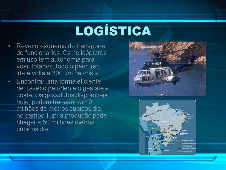 LOGÍSTICA Rever o esquema de transporte de funcionários. Os helicópteros em uso tem autonomia para voar, lotados, todo o percurso ida e volta a 300 km