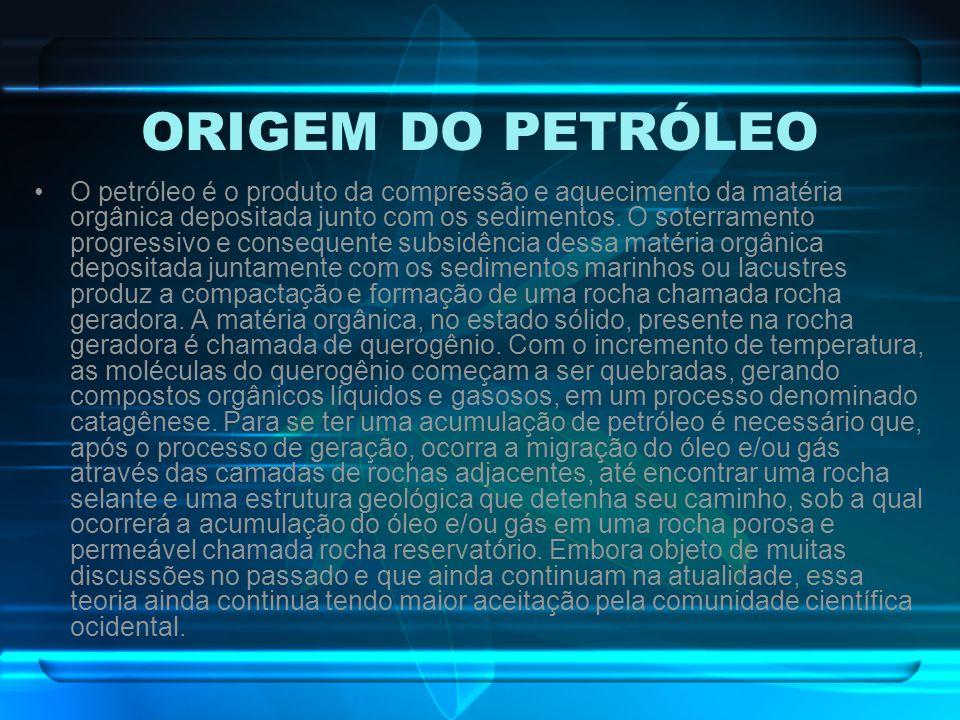 ORIGEM DO PETRÓLEO O petróleo é o produto da compressão e aquecimento da matéria orgânica depositada junto com os sedimentos. O soterramento progressi