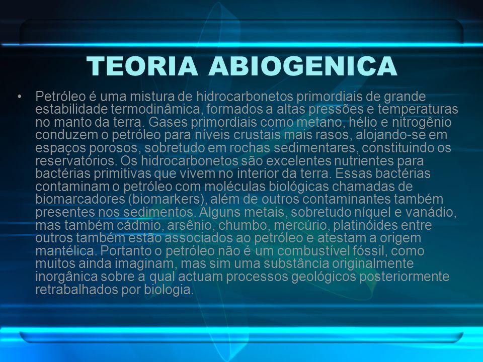 TEORIA ABIOGENICA Petróleo é uma mistura de hidrocarbonetos primordiais de grande estabilidade termodinâmica, formados a altas pressões e temperaturas