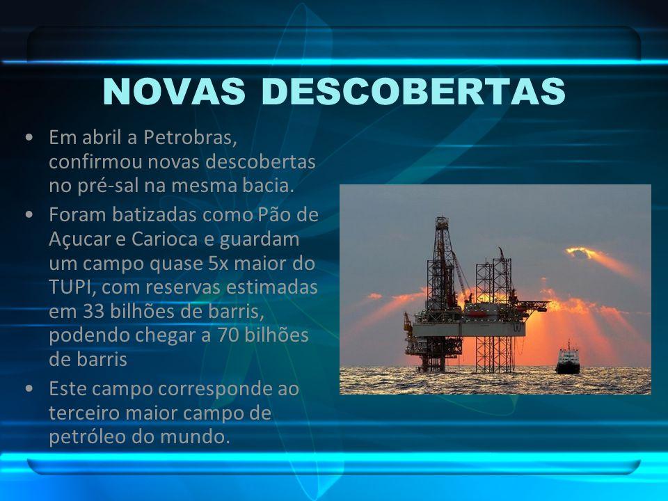 NOVAS DESCOBERTAS Em abril a Petrobras, confirmou novas descobertas no pré-sal na mesma bacia. Foram batizadas como Pão de Açucar e Carioca e guardam