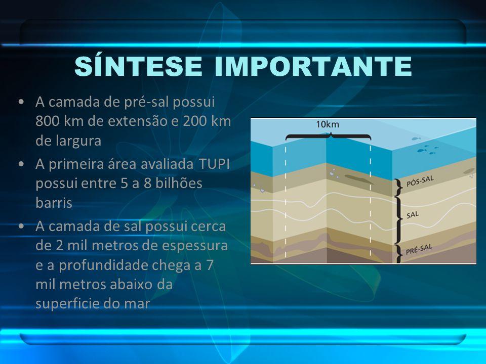 SÍNTESE IMPORTANTE A camada de pré-sal possui 800 km de extensão e 200 km de largura A primeira área avaliada TUPI possui entre 5 a 8 bilhões barris A