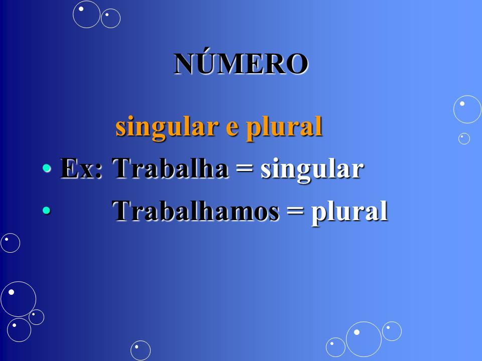 NÚMERO singular e plural singular e plural Ex: Trabalha = singularEx: Trabalha = singular Trabalhamos = plural Trabalhamos = plural
