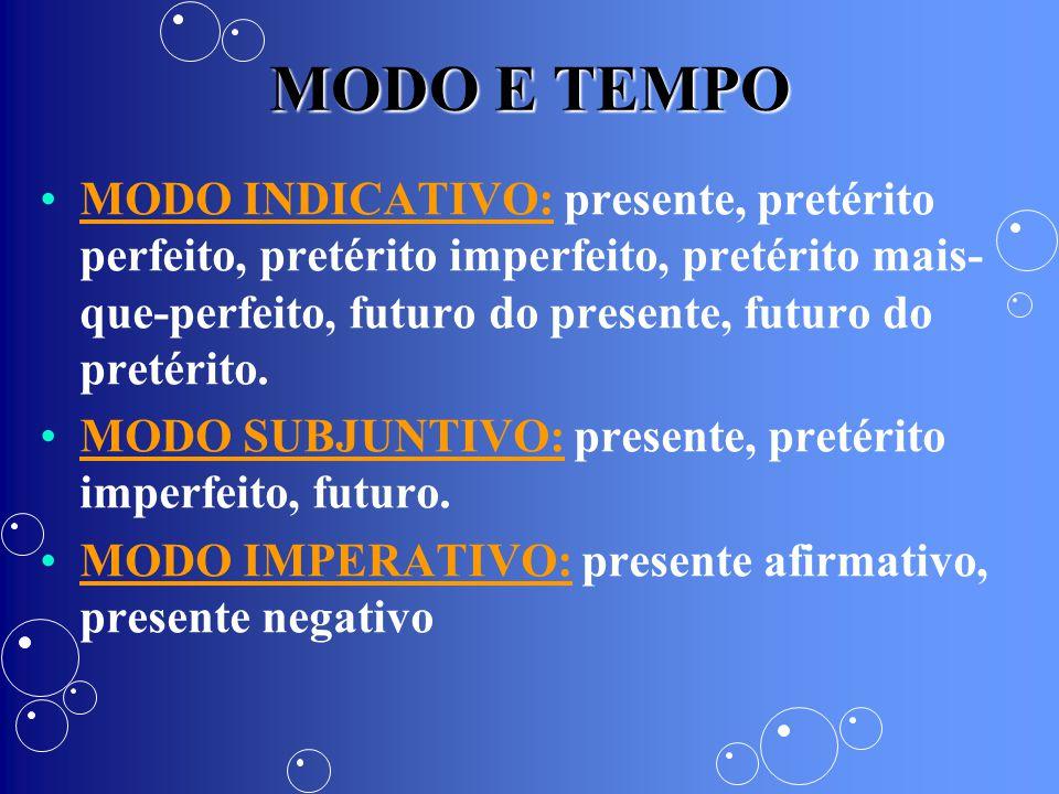 MODO E TEMPO MODO INDICATIVO: presente, pretérito perfeito, pretérito imperfeito, pretérito mais- que-perfeito, futuro do presente, futuro do pretérit