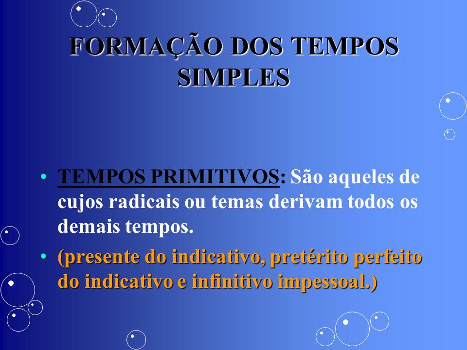 FORMAÇÃO DOS TEMPOS SIMPLES TEMPOS PRIMITIVOS: São aqueles de cujos radicais ou temas derivam todos os demais tempos. (presente do indicativo, pretéri
