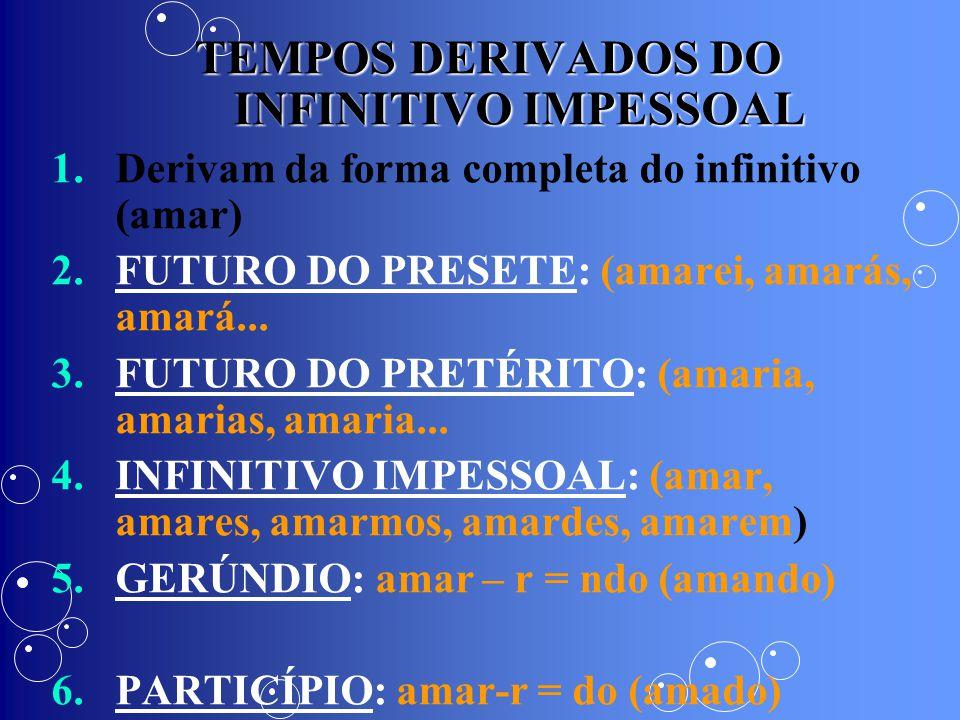 TEMPOS DERIVADOS DO INFINITIVO IMPESSOAL 1. 1.Derivam da forma completa do infinitivo (amar) 2. 2.FUTURO DO PRESETE: (amarei, amarás, amará... 3. 3.FU