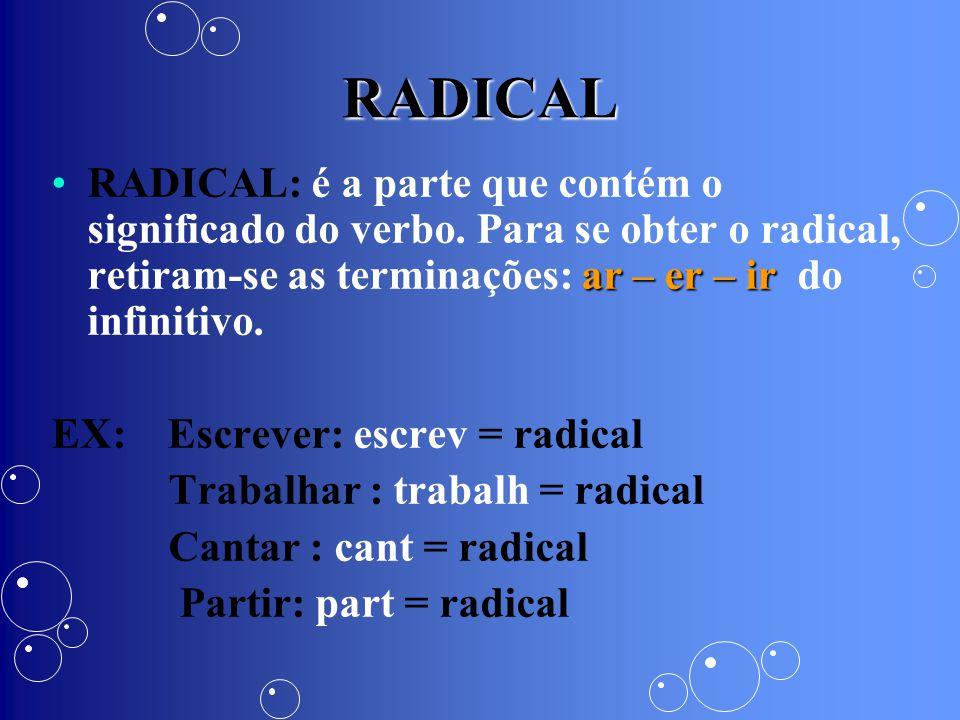 RADICAL ar – er – irRADICAL: é a parte que contém o significado do verbo. Para se obter o radical, retiram-se as terminações: ar – er – ir do infiniti