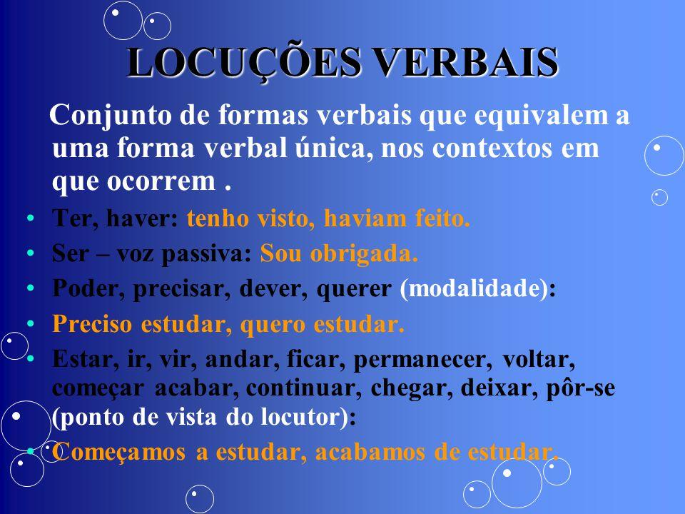 LOCUÇÕES VERBAIS Conjunto de formas verbais que equivalem a uma forma verbal única, nos contextos em que ocorrem. Ter, haver: tenho visto, haviam feit
