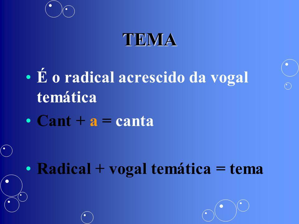 TEMA É o radical acrescido da vogal temática Cant + a = canta Radical + vogal temática = tema