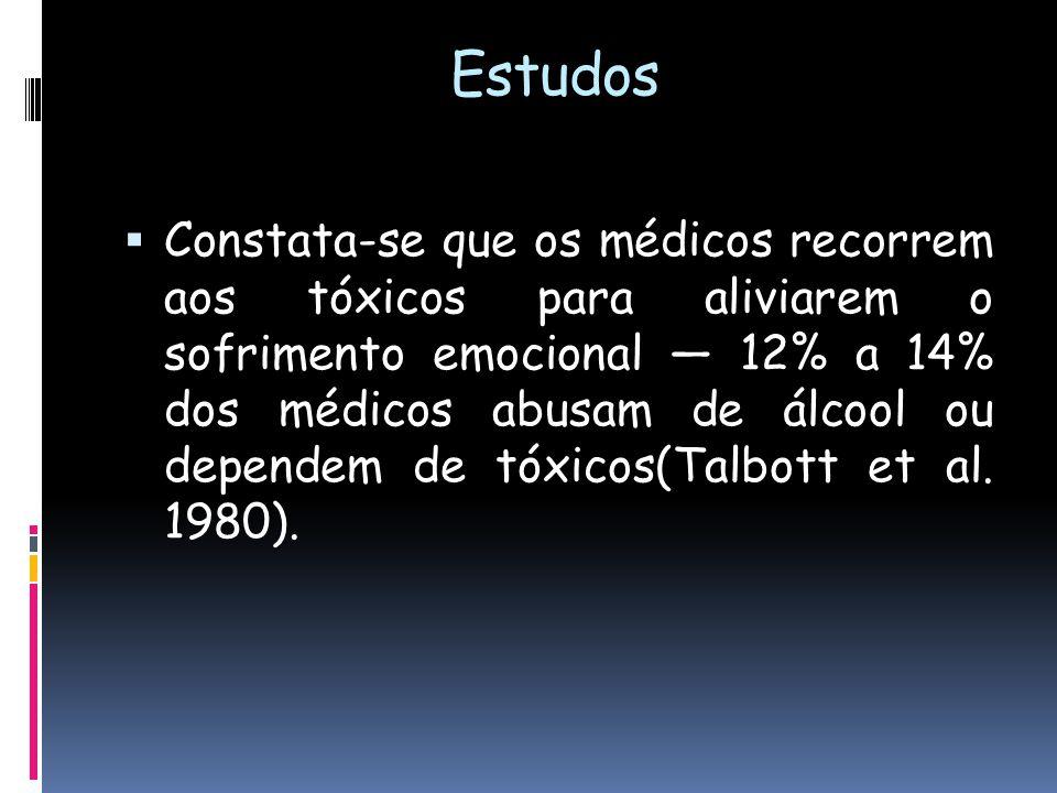 Estudos abusam de álcool ou dependem de tóxicos Constata-se que os médicos recorrem aos tóxicos para aliviarem o sofrimento emocional 12% a 14% dos mé